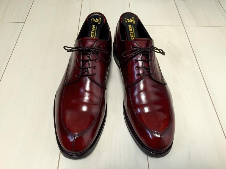 【靴磨き】ハイシャイン成功リーガル06CRワイン色3