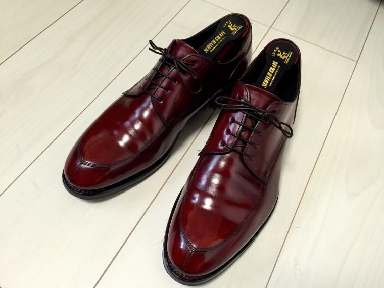 【靴磨き】ハイシャイン成功リーガル06CRワイン色2