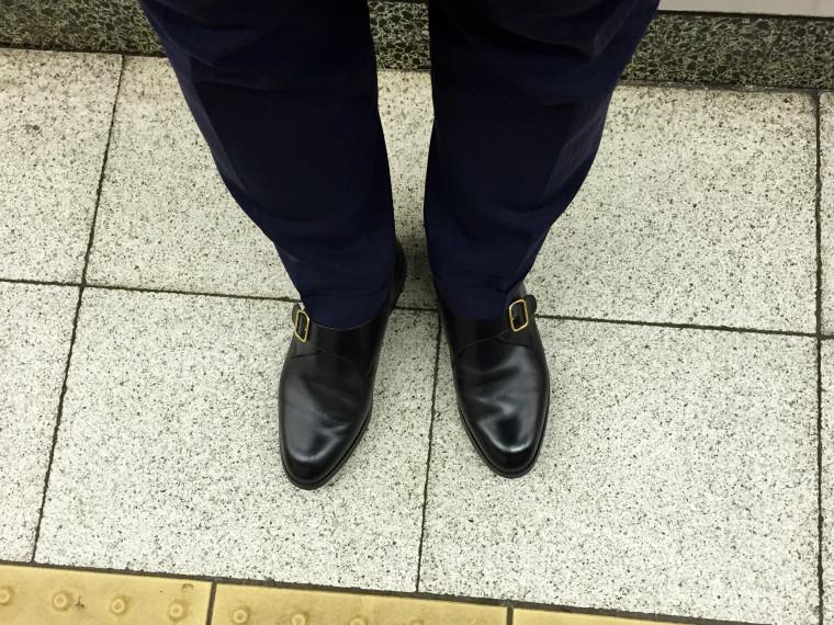 ロイドフットウェア モンクストラップ(Vシリーズ)の履き皺