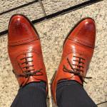 ロイドフットウェアの茶色のセミブローグの履き皺~経過報告