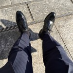 ロイドフットウェアの黒のフルブローグの履き皺〜幸運のウィングチップ