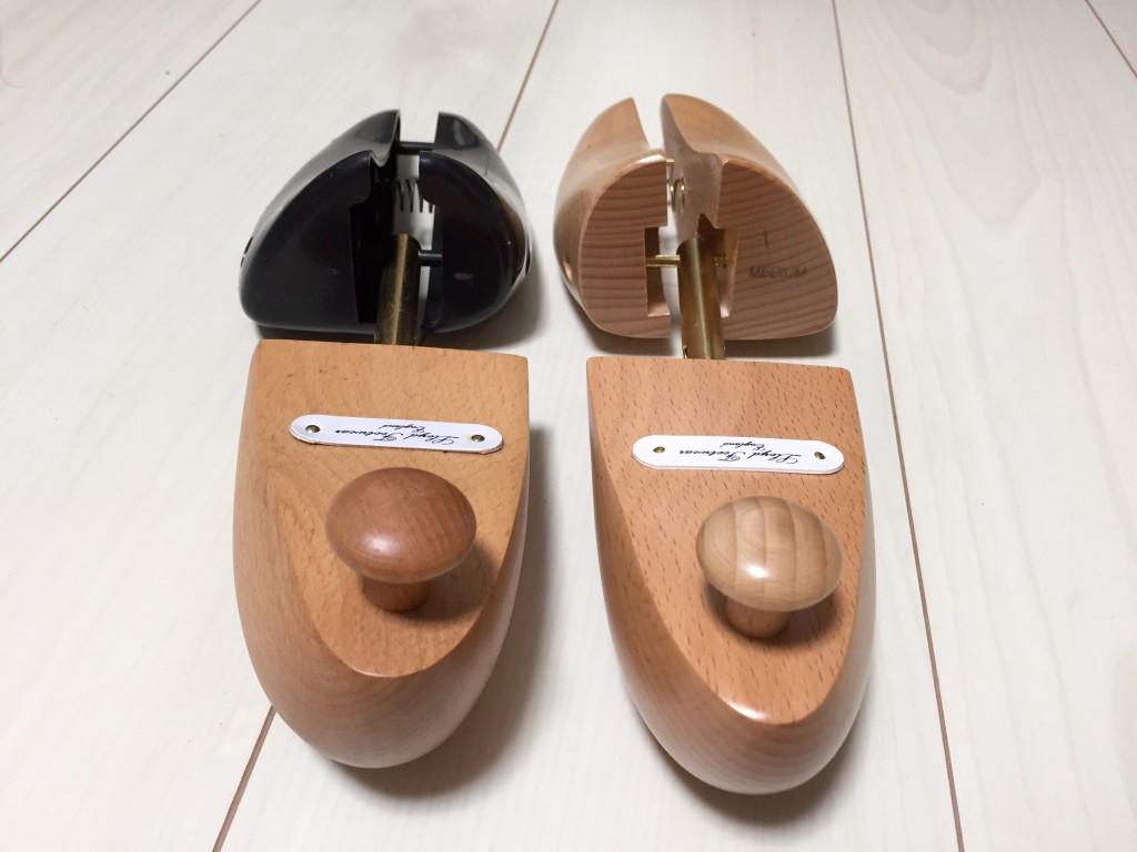 ロイドフットウェア純正木製シューツリーとセールのシューツリーの比較