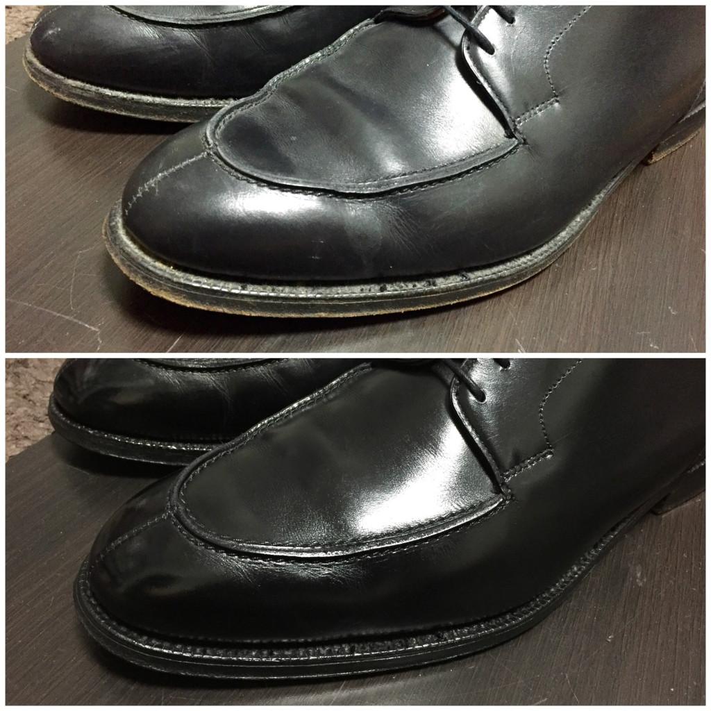 クロケット&ジョーンズ Uチップ KENSINGTON(ケンジントン)靴磨き前と靴磨き後