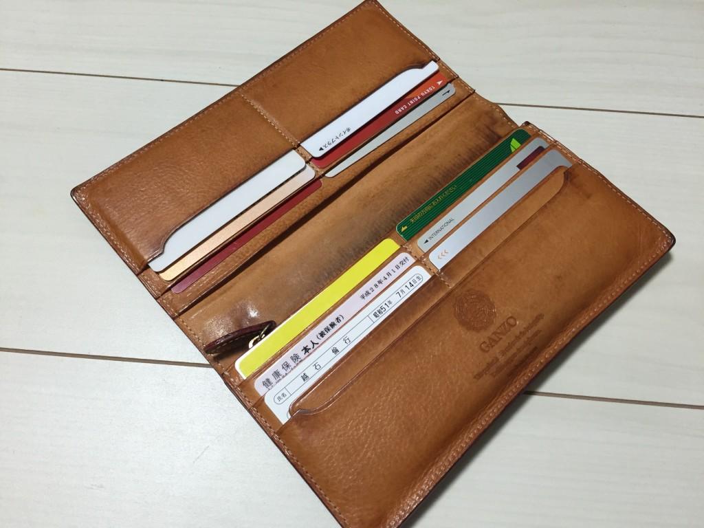 GANZO(ガンゾ)の長財布のエイジング_2年経過_内装