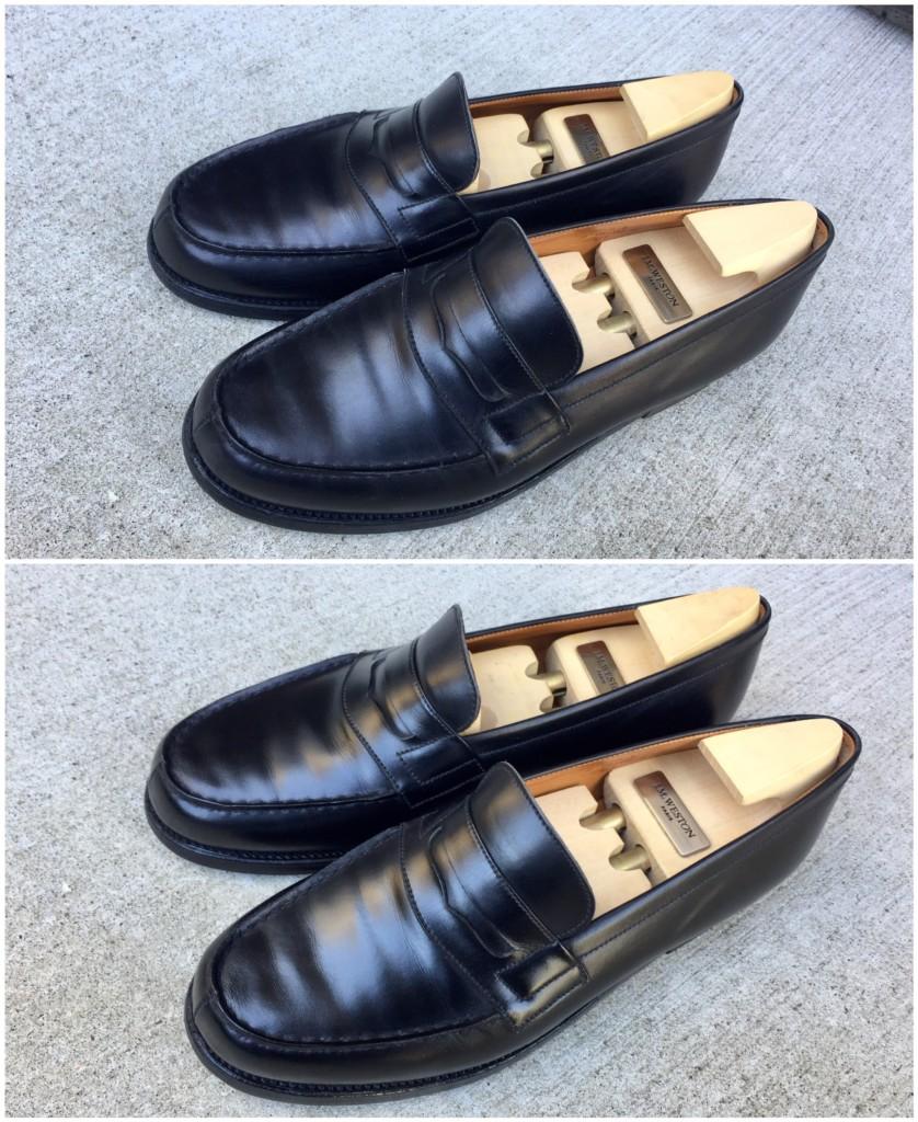 JMウェストン ローファー靴磨きビフォーアフター