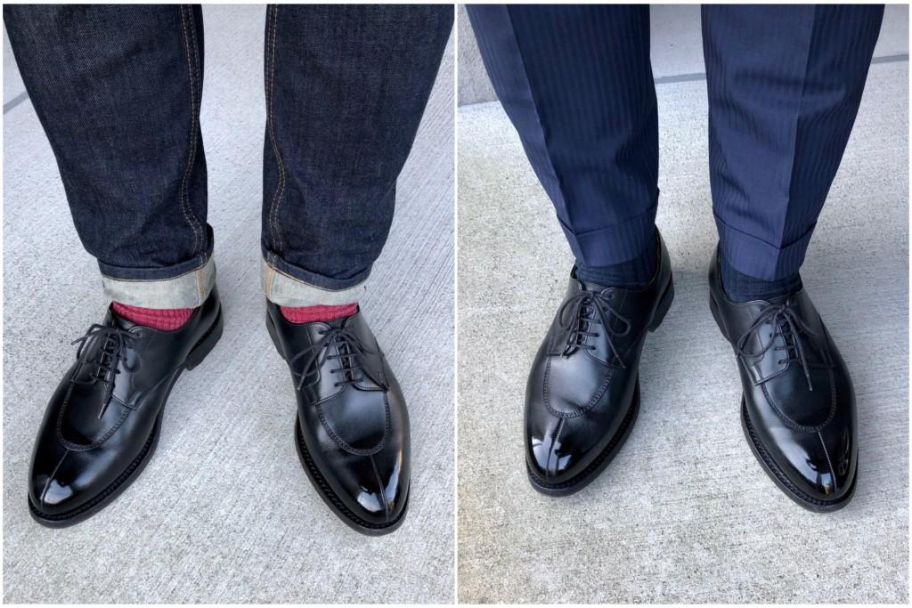 JMウェストン598(jmweston598)とスーツのコーディネートとジーンズのコーディネート比較