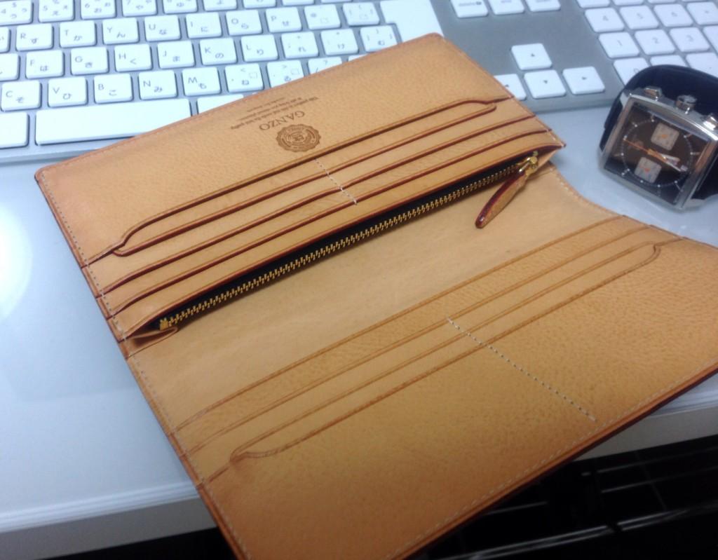 GANZO(ガンゾ)長財布 シンブライドル ファスナー付き束入れ ネイビー(内装:ファスナー部)