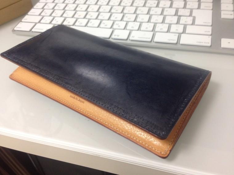 GANZO(ガンゾ)長財布 シンブライドル ファスナー付き束入れ ネイビー(表面)2