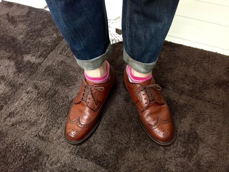 革靴丸洗い後のリーガル2235とジーンズ