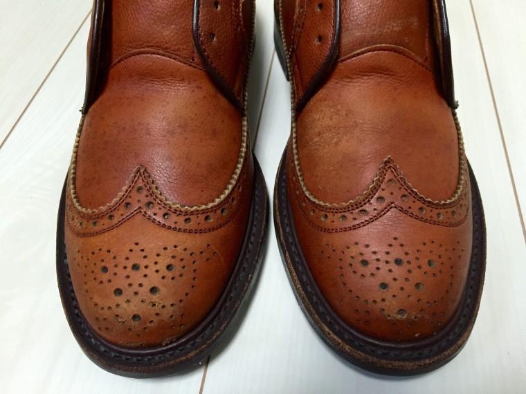 革靴丸洗い すっぴんのリーガル2235のアッパーのシミ