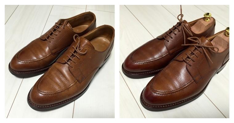 クロケット&ジョーンズ ONSLOW 靴磨きビフォーアフター