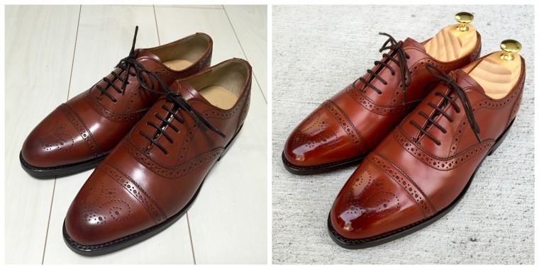 ロイドフットウェア セミブローグ靴磨きビフォーアフター