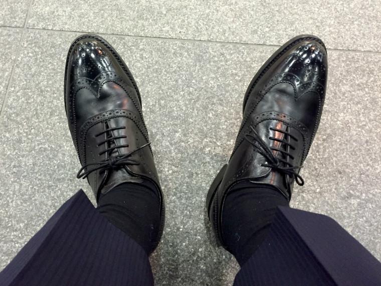 ロイドフットウェア フルブローグの履き皺
