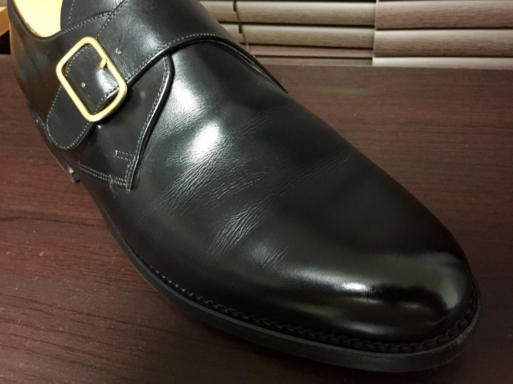 ロイドフットウェアVシリーズモンクストラップの履き皺
