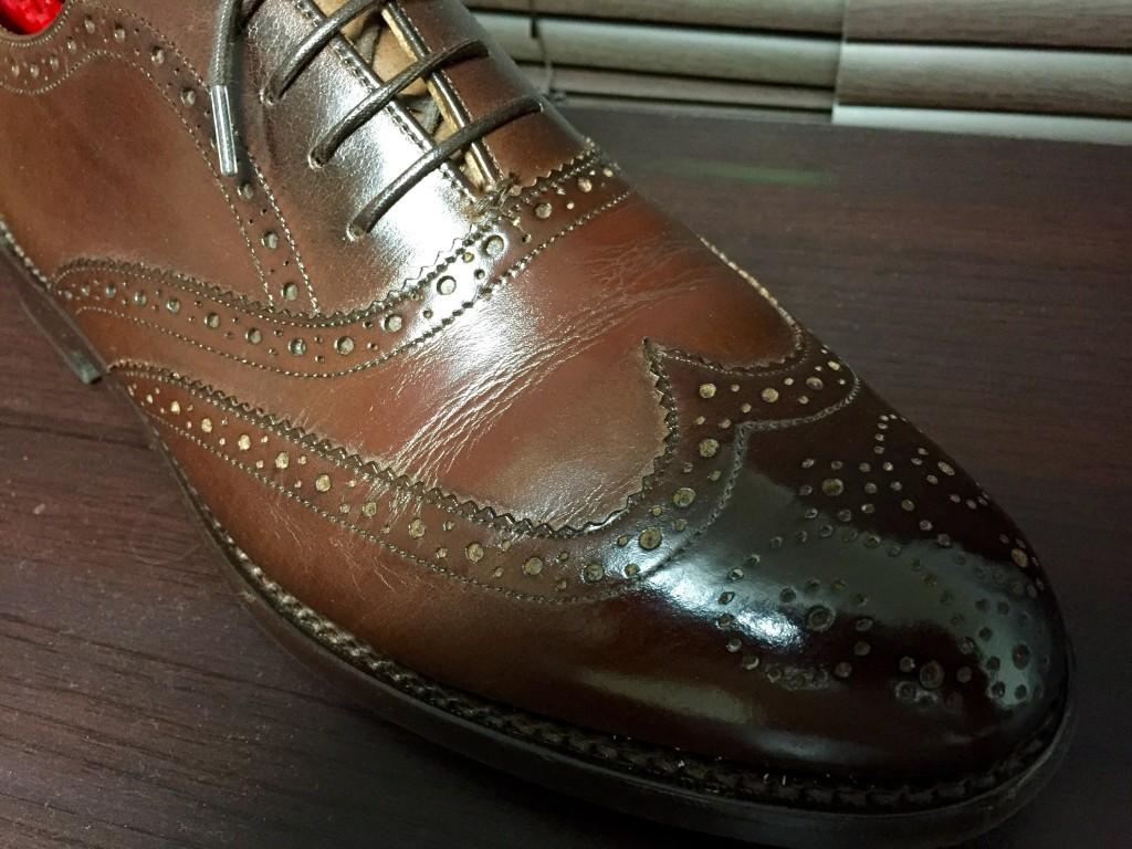ロイドフットウェアVシリーズ フルブローグ茶色の履き皺