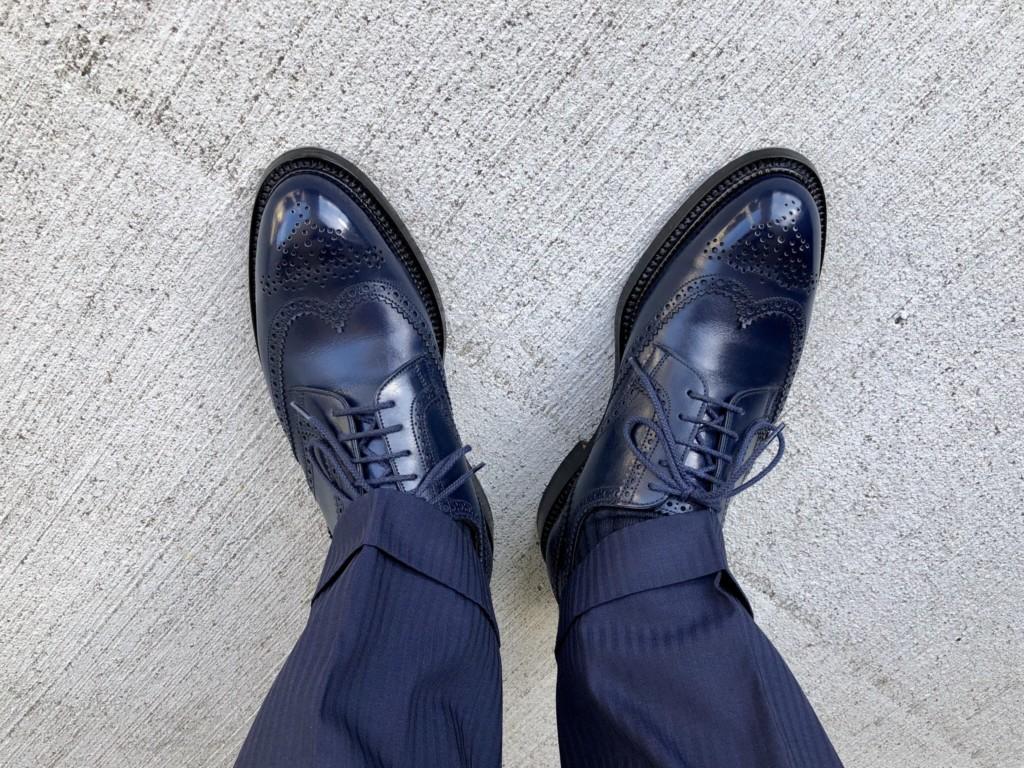 JMウエストン588フルブローグ(J.M.WESTON#588)の履き皺