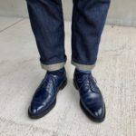 ネイビーのJMウェストン588に濃い色のジーンズを合わせる