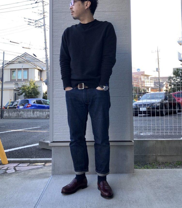 JMウエストン180バーガンディローファー×ジーンズ(ACNE JEANS)×ループウィラー黒スウェット