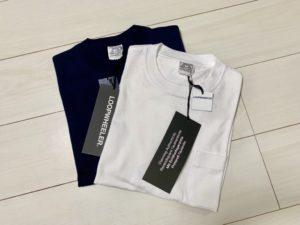 ループウィラー半袖ポケットTシャツ(LW56)の白とマリン(ネイビー)の画像