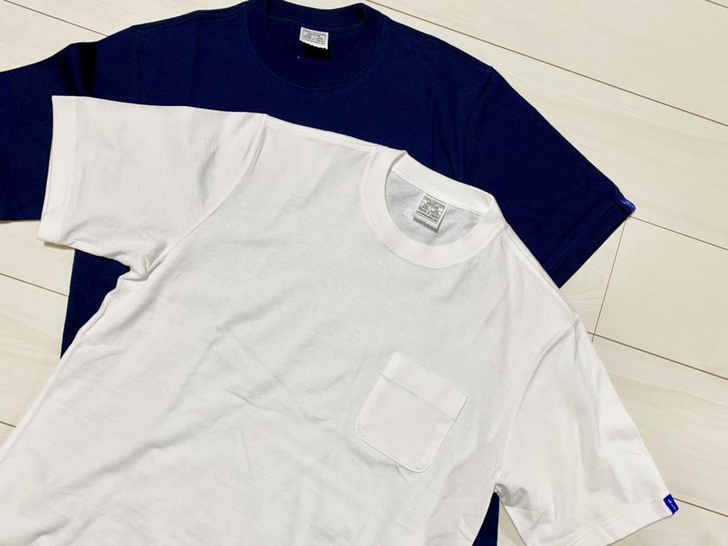ループウィラー半袖ポケットTシャツ(LW56)の白とマリン(ネイビー)の画像2
