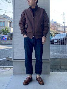 ループウィラーの半袖スウェットにバラクータG9のコーデ画像