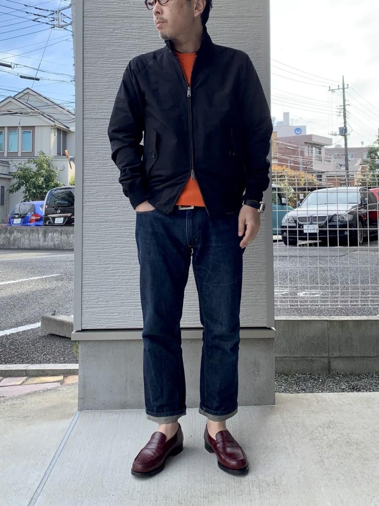 バラクータG9×ループウィラー半袖スウェット×ジーンズ(ACNE JEANS)ジップ閉めた画像