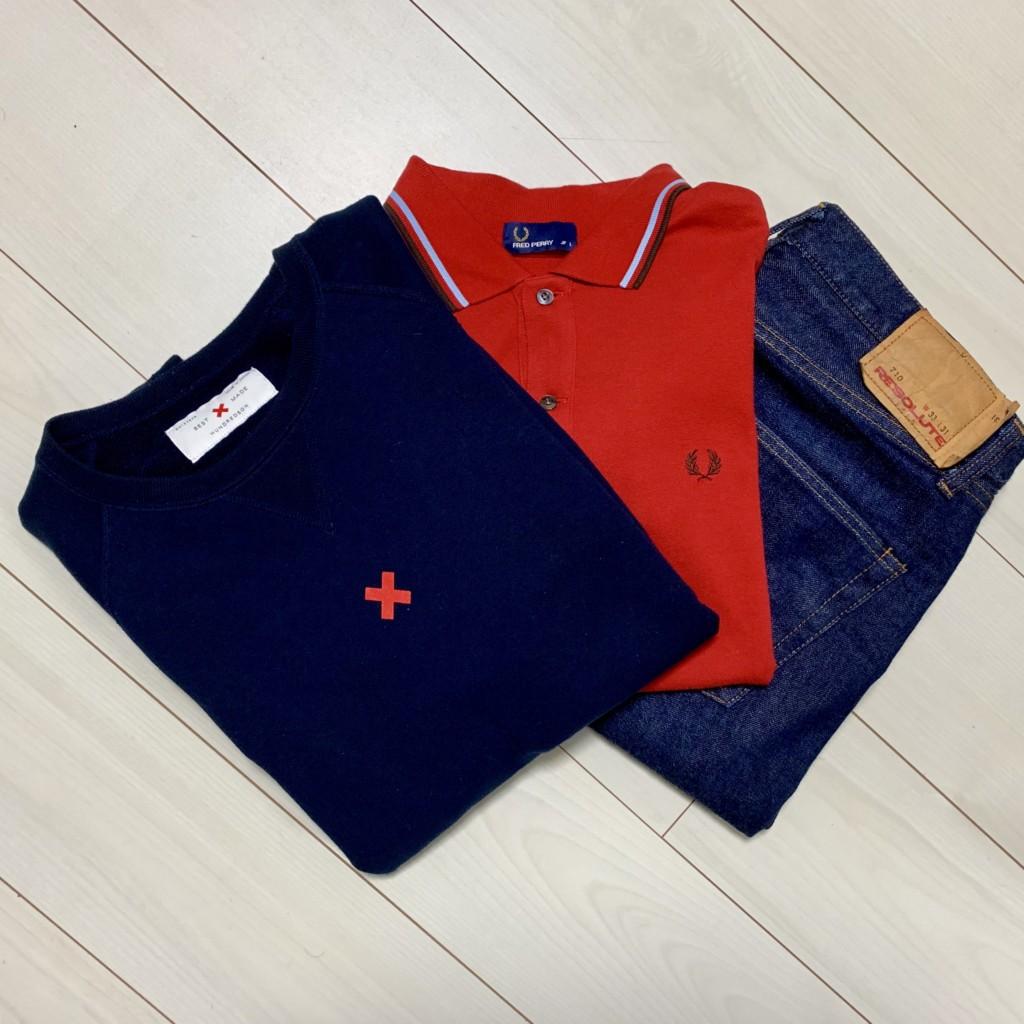 ループウィラーの半袖スウェットとフレッドペリーのポロシャツとリゾルト710の画像