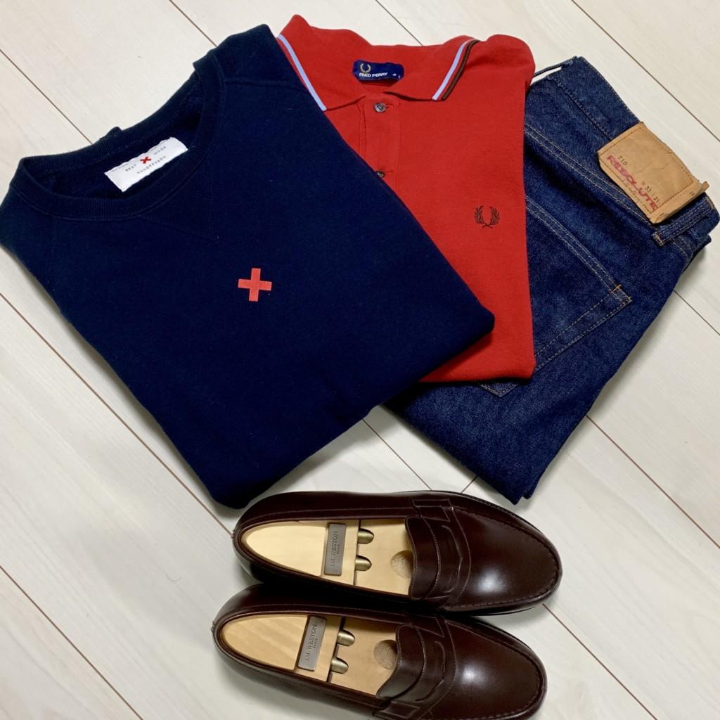 ループウィラーの半袖スウェットとフレッドペリーのポロシャツとリゾルト710とダークブラウンのJMウエストン180ローファーの画像