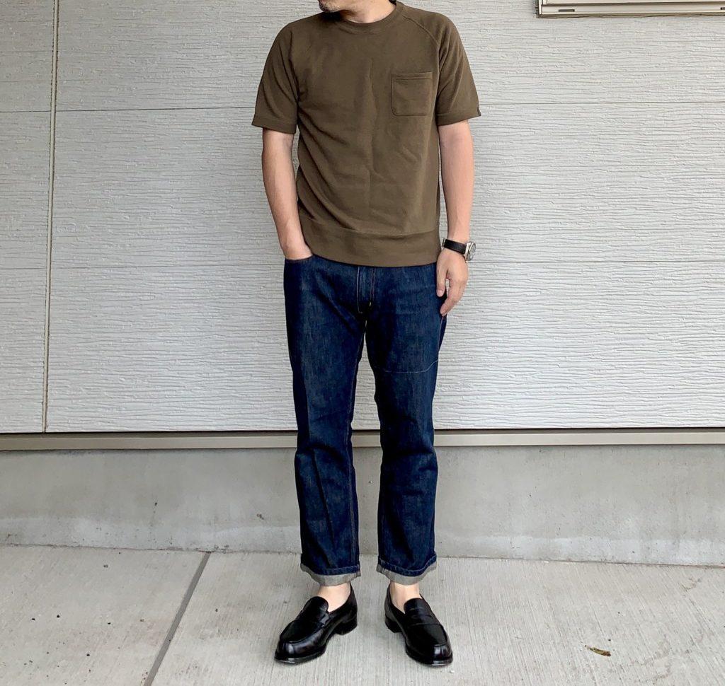 LOOPWHEELER「エキストラライトプラス半袖スウェットシャツ」×ジーンズコーデ画像