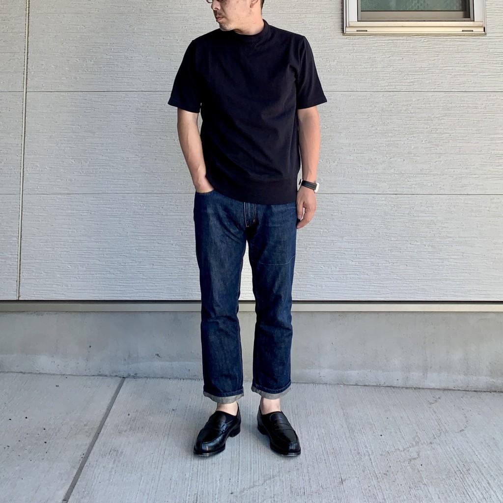 ループウィラー×LOWERCASE「天竺半袖Tシャツ」×ジーンズコーデ画像