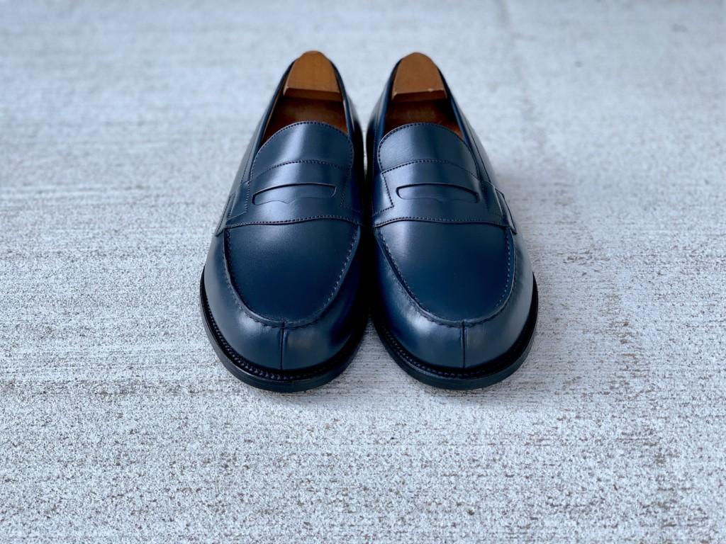 黒の靴クリームでプレメンテしたJMウェストン(J.M.WESTON)#180ローファー ネイビーブルーの画像