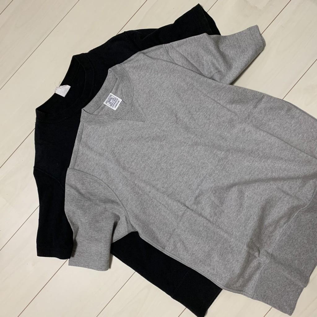アーバンリサーチ別注の「LOWERCASE×LOOPWHEELER 天竺 SHORT-SLEEVE T-SHIRTS」の黒とグレーの画像