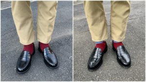JMウエストンとオールデンのローファー履き比べ画像