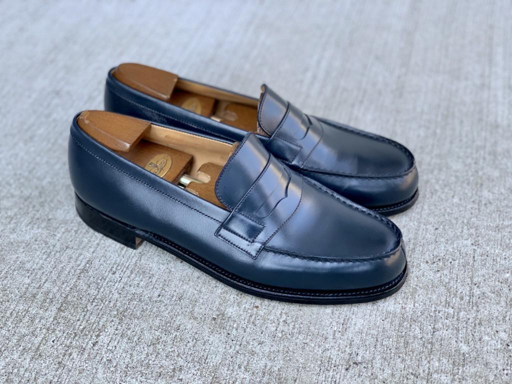 JMウエストン「180ローファー」ネイビーの靴磨きの画像6