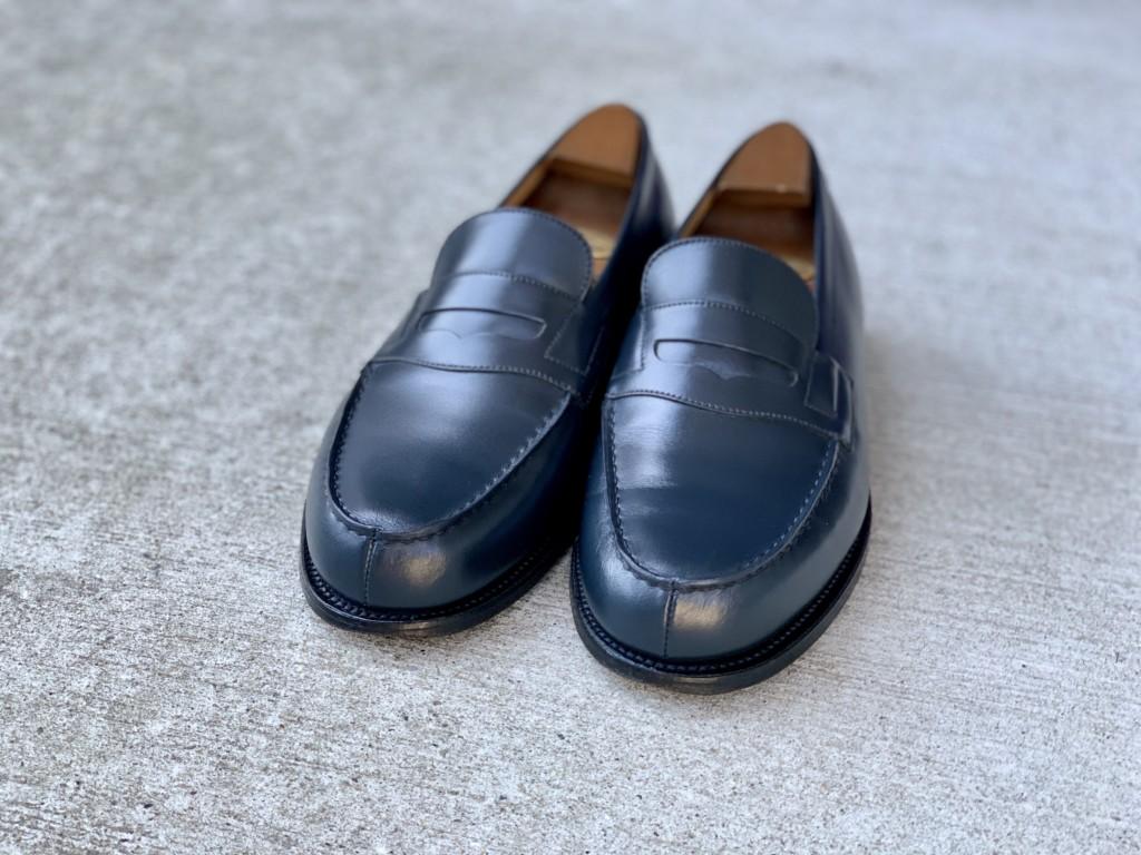 JMウエストン「180ローファー」ネイビーの靴磨きの画像7