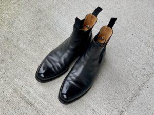 JMウエストンのサイドゴアブーツを靴磨きの画像2