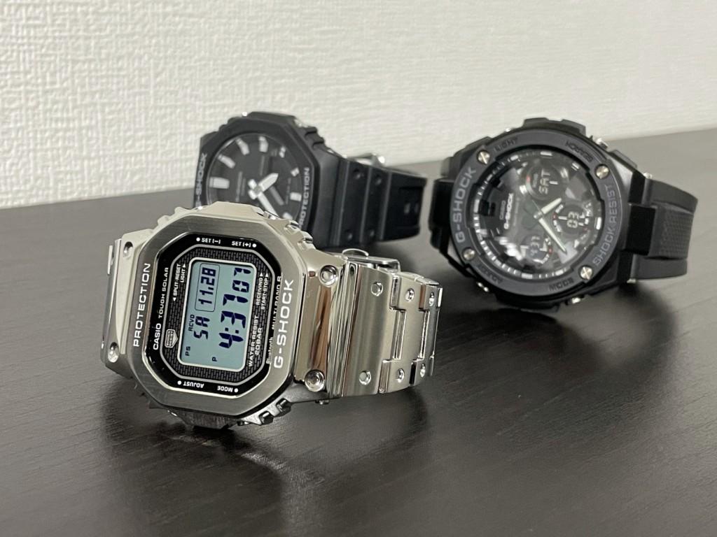 Gショック「銀メタ(GMW-B5000D-1JF)」とGスチールとカシオークの画像