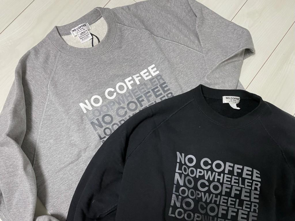 LOOPWHEELER×NOCOFFEEの黒とグレーのスウェットの画像