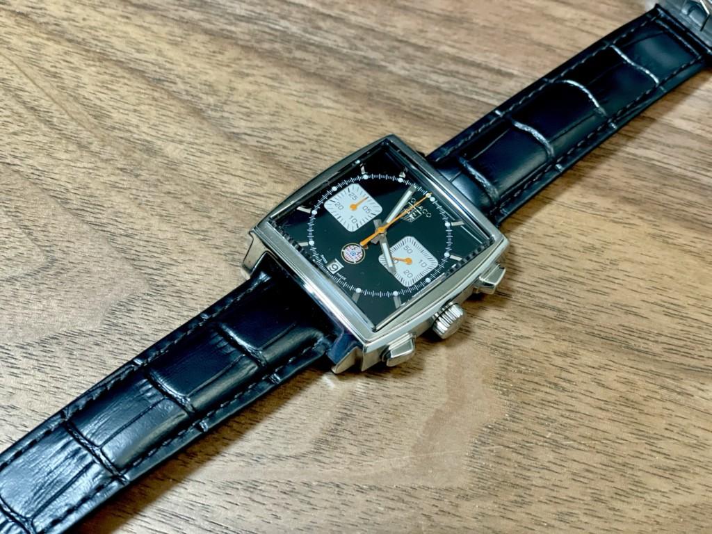 タグホイヤーモナコに格安ベルトを付けた画像2